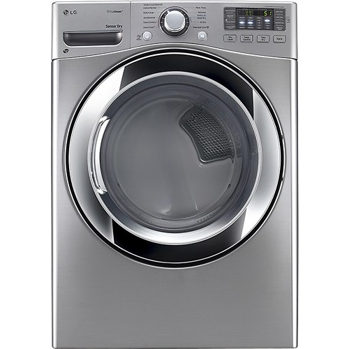 LG - SteamDryer 7.4 Cu. Ft. 10-Cycle Steam Gas Dryer - Graphite Steel