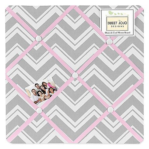 Sweet Jojo Designs Zigzag Fabric Memo Board in Pink/Grey