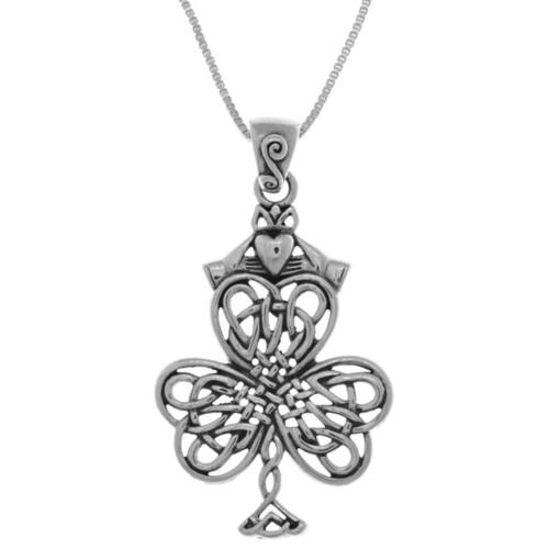 Sterling Silver Celtic Knotwork Shamrock Irish Claddagh 18-inch Necklace