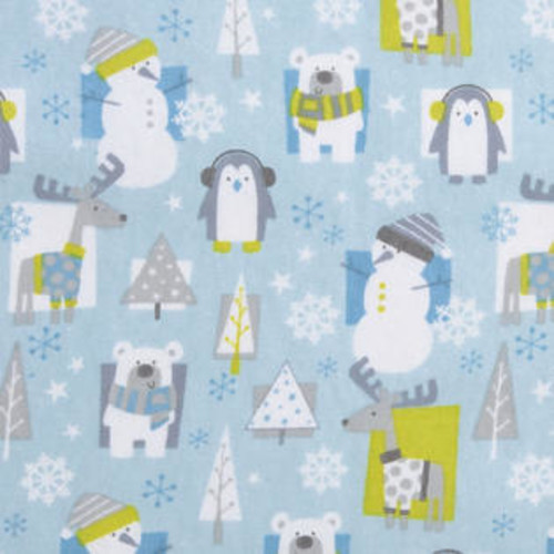 Trend Lab Nursery Kids Baby Snow Pals Blue Deluxe Flannel Fitted Crib Sheet