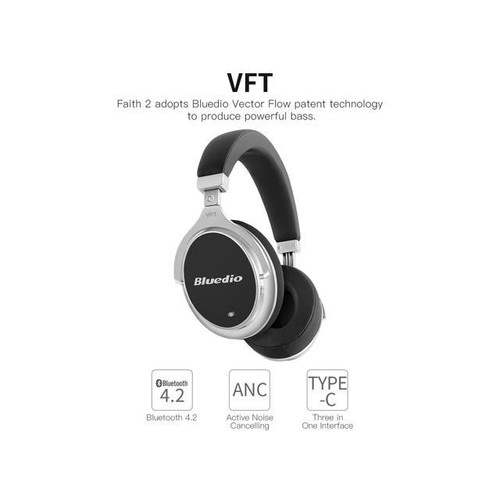 2017 Bluedio New F2 (Faith) Active Noise Cancelling Over-ear Business Wireless Bluetooth Headphones with Mic (Black)