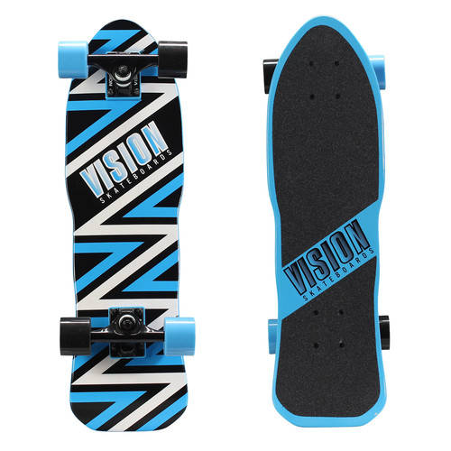 Vision 26 in. Mini Cruiser Skateboard in Ripper Style Blue Graphic