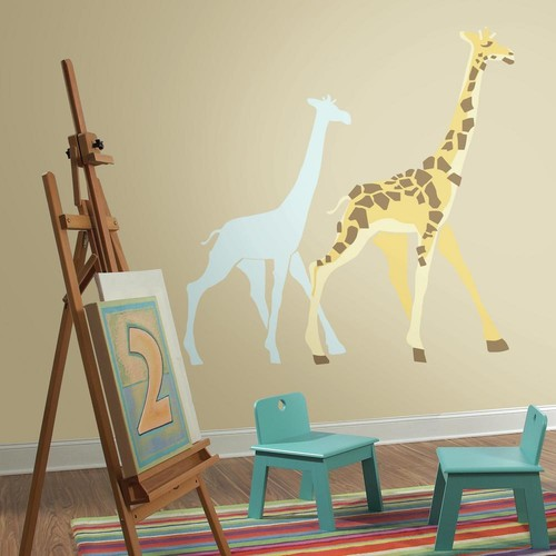 RoomMates 5 in. x 19 in. DwellStudio Giraffe 13-Piece Peel and Stick Giant Wall Decals
