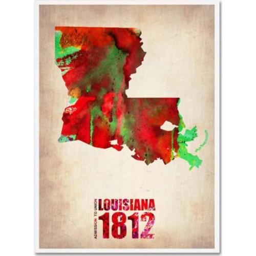 Naxart 'Louisiana Watercolor Map' Canvas Wall Art 14 x 19