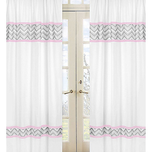 Sweet Jojo Designs Zigzag Window Panel Pair in Pink/Grey