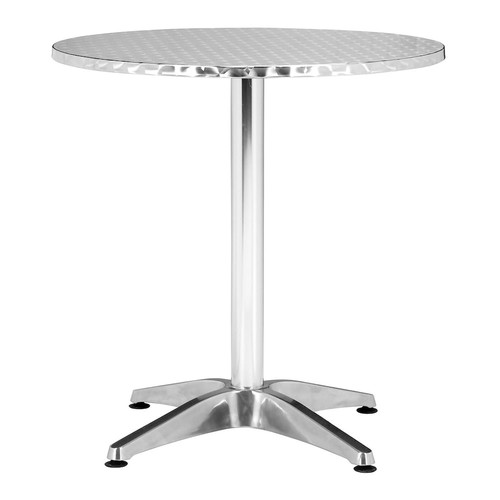 Zuo Modern 700601 Christabel Round Table in Aluminum; Perfect for sitting on a busy street corner, drinking a cup of coffee and updating the blog; Polished aluminum Christabel series is the ultimate cafe table; 150 lbs. weight capacity