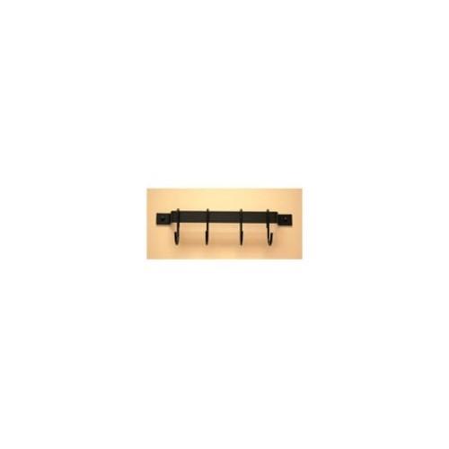12 in. Utensil Rack w 4 Hooks (Hammered Steel/Chrome)