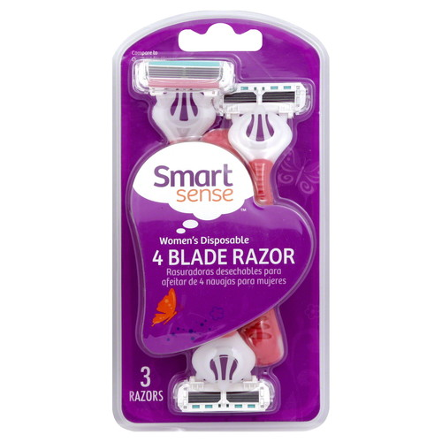 Smart Sense Razor, 4 Blade, Women's Disposable, 3 razors