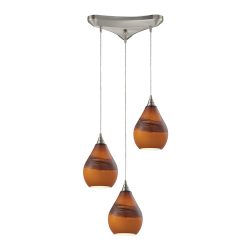 Elk Dunes 3-light Pendant in Satin Nickel and Shadow Glass
