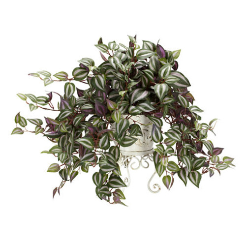 Nearly Natural Wandering Jew with Metal Planter Silk Plant