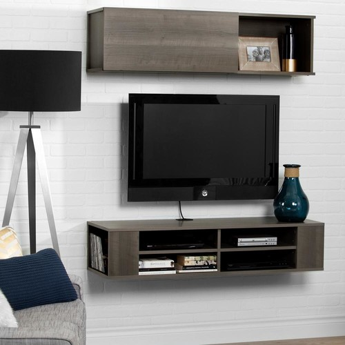 South Shore City Life Gray Maple 48 in. Wall Mounted Media Console and Storage Unit