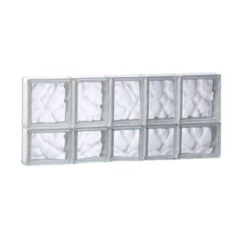 Clearly Secure 32.75 in. x 13.5 in. x 3.125 in. Non-Vented Wave Pattern Glass Block Window