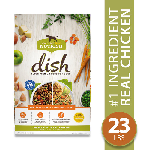 Rachael Ray Nutrish DISH Natural Dry Dog Food, Chicken & Brown Rice Recipe with Veggies & Fruit, 23 lbs