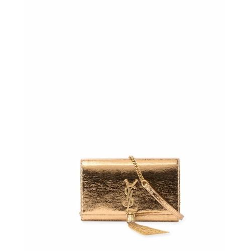 SAINT LAURENT Kate Crinkled Metallic Tassel Chain Wallet, Bronze