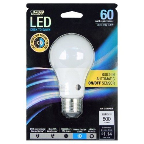 Feit Electric 60W Equivalent Daylight A19 Dusk Till Dawn LED Light Bulb