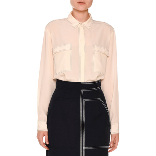STELLA MCCARTNEY Topstitched Two-Pocket Crepe De Chine Blouse, Ivory