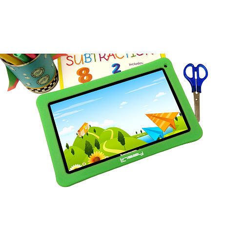 LINSAY 10.1 inch Quad Core Funny Android Tablet - Green Defender Case