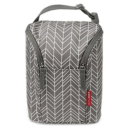 SKIP*HOP Grab & Go Double Bottle Bag in Grey