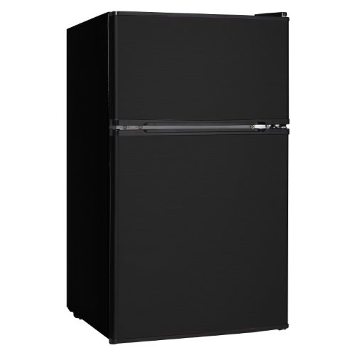 Midea WHD-113FB1 Compact Reversible Double Door Refrigerator and Freezer, 3.1 Cubic Feet, Black [Black]