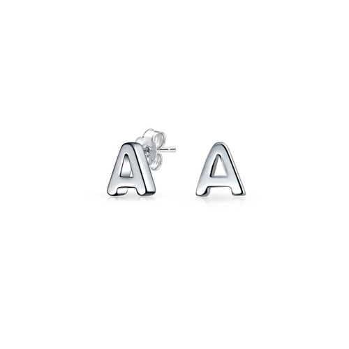 Bling Jewelry Modern Alphabet Letter A Initial Stud earrings 925 Sterling Silver 55mm