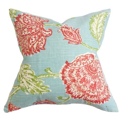 Floral Pillow, Aqua