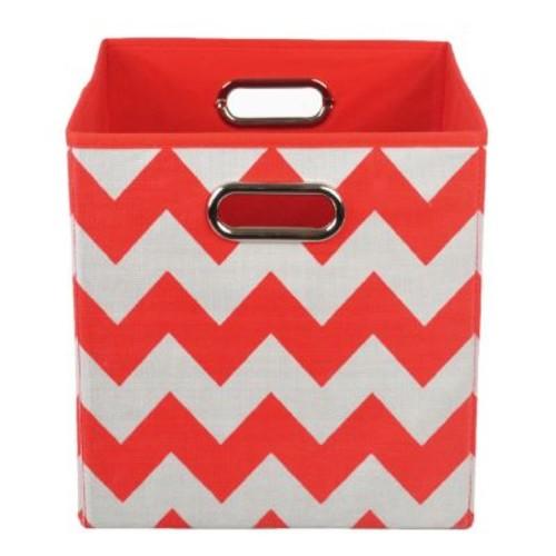 Bold Red Chevron Folding Storage Bin