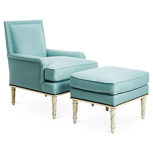Azzure Chair & Ottoman Set