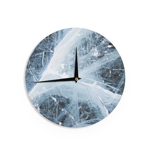 KESS InHouse KESS Original 'Deep Winter' Blue White Wall Clock