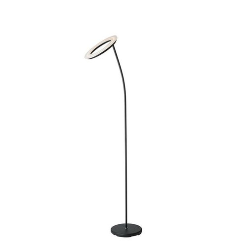 ORE International 73 in. Matte Black LED Halo Torchiere Floor Lamp