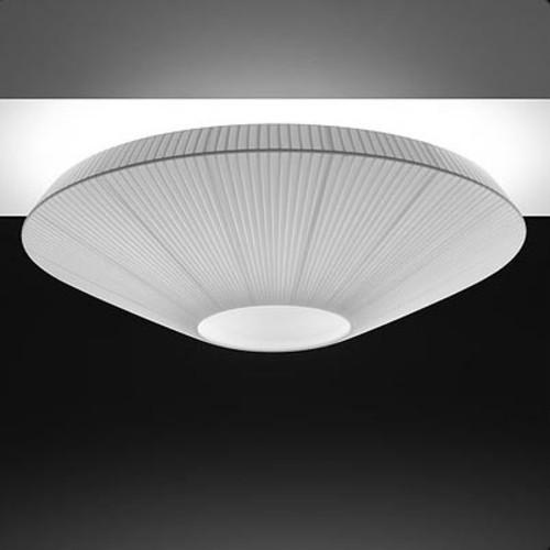 Siam 80 Ceiling Light [Lamp Shade : White Translucent Ribbon; Finish\/Style : Satin Nickel]