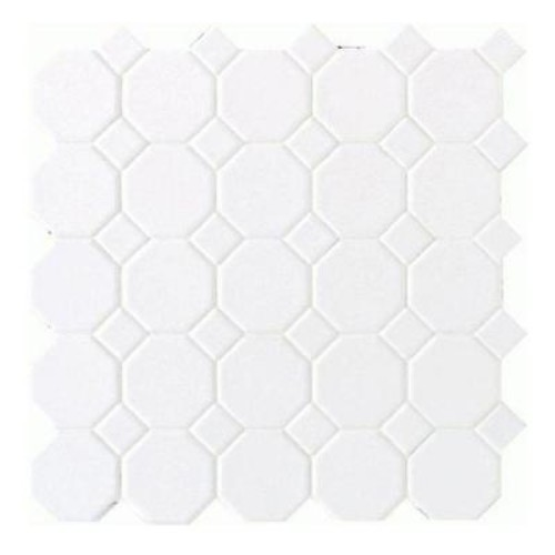 Daltile Matte White 12 in. x 12 in. x 6 mm Ceramic Octagon Dot Mosaic Tile (10 sq. ft. / case)