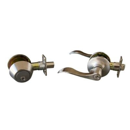 Design House Stratford Satin Nickel Entry Door Lever and Single Cylinder Deadbolt with Universal 6-Way Latch