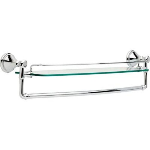 Delta Cassidy 24 in. Glass Bathroom Shelf with Towel Bar in Chrome