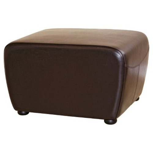 Full Leather Ottoman with Rounded Sides Dark Brown - Baxton Studio