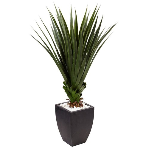 Nearly Natural Indoor/Outdoor Spiked Agave Artificial Plant in Black Planter