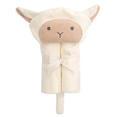 Elegant Baby Lambie Bath Wrap Towel in White