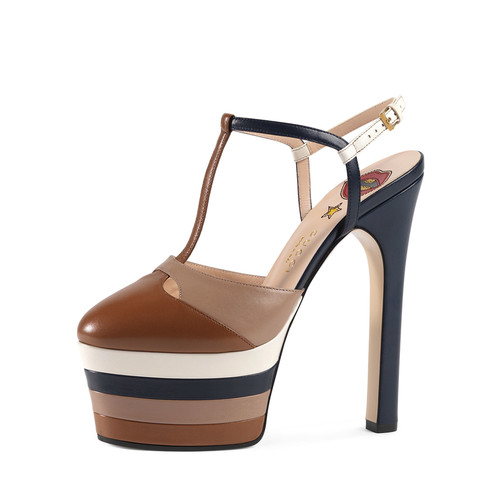 GUCCI Angel Colorblock Leather Platform Pump, Cuir/Rose/Blue/White