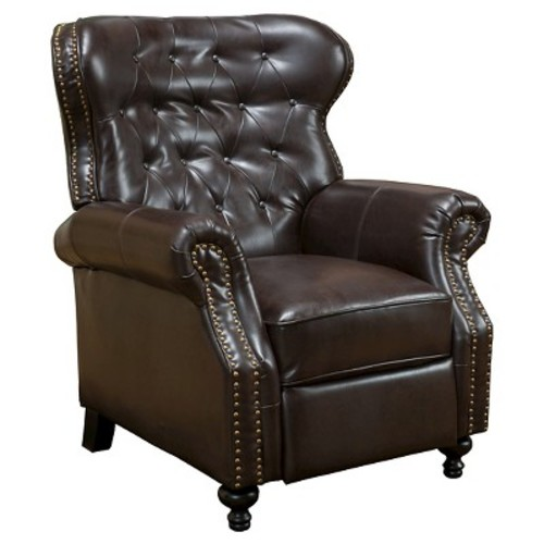 Walder Bonded Leather Recliner Club Chair - Brown - Christopher Knight Home