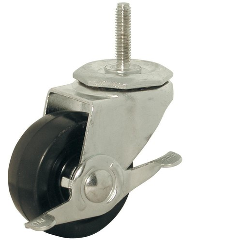 Shepherd 3 in. Soft Rubber Threaded Stem Caster with 150 lb. Load Rating and Brake