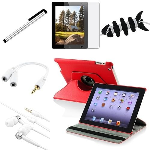 INSTEN 8 in 1 Red 360 Rotating Leather Case+Anti-Glare Film Guard for iPad 3 4 / 2 2nd (Supports Auto Sleep/Wake)