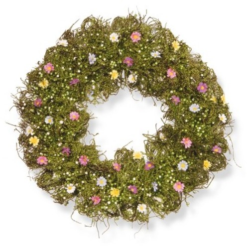 Artificial Spring Flower Wreath Green 19