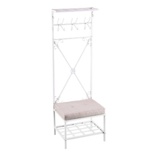 Entryway Hall Tree Bench With Storage Distressed White - Aiden Lane