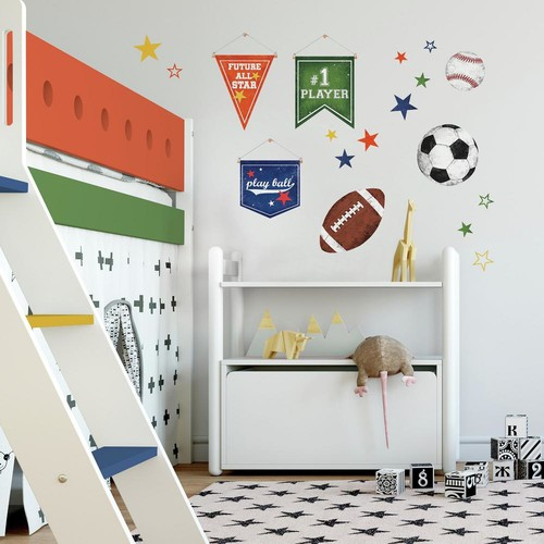RoomMates 5 in. x 11.5 in. 20-Piece Sports Ball Peel and Stick Wall Decals