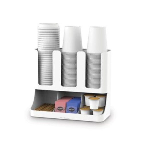 Mind Reader Flume 6-Compartment Coffee Condiments and Cups Organizer in White