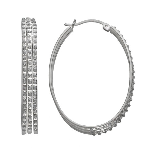 Diamond Mystique Sterling Silver Diamond Accent Oval Hoop Earrings