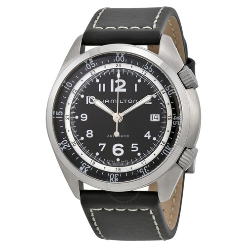 Khaki Pilot Pioneer Automatic Black Dial Black Leather Men's Watch