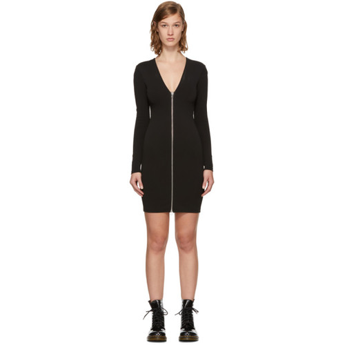 T BY ALEXANDER WANG Black Faille Ponte V-Neck Dress