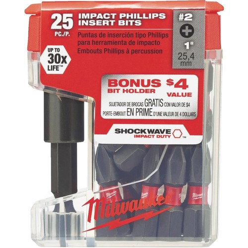 Milwaukee Shockwave #2 Insert Impact Screwdriver Bit with Magnetic Holder - 48-32-5009