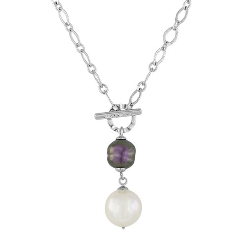 Baroque Simulated Pearl Toggle Necklace, 18