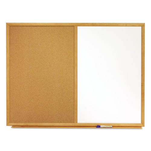 Quartet QRTS553 Bulletin/Dry-Erase Board, Melamine/Cork, 36 x 24, White/Brown, Oak Finish Frame